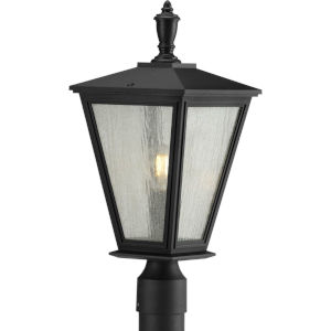Cardiff Textured Black Nine-Inch One-Light Outdoor Post Mount with Clear Seeded Shade
