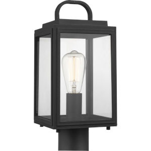 Grandbury Textured Black Seven-Inch One-Light Outdoor Post Mount with Clear Shade