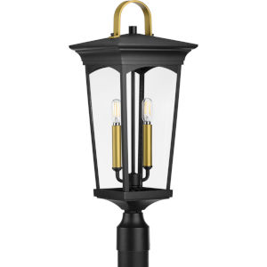 Chatsworth Textured Black Nine-Inch Two-Light Outdoor Post Mount with Clear Shade