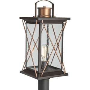 Barlowe Antique Bronze Nine-Inch One-Light Outdoor Post Mount with Clear Seeded Shade