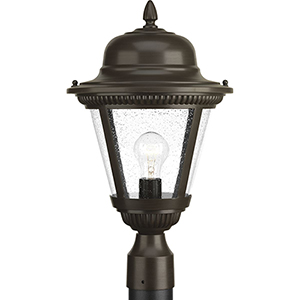 P5458-20: Westport Antique Bronze One-Light Outdoor Post Lantern with Clear Seeded Glass