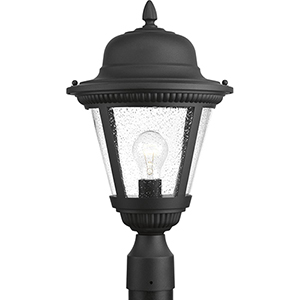 P5458-31: Westport Black One-Light Outdoor Post Lantern with Clear Seeded Glass