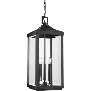 Gibbes Street Textured Black 10-Inch Three-Light Outdoor Pendant with Clear Beveled Shade