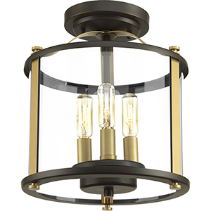 P550011-020: Squire Antique Bronze Three-Light Outdoor Semi Flush Mount