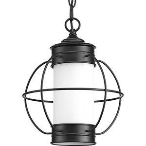 P550014-031: Haddon Black One-Light Outdoor Hanging Lantern with Etched Opal Glass