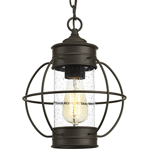 P550015-020: Haddon Antique Bronze One-Light Outdoor Hanging Lantern with Clear Seeded Glass