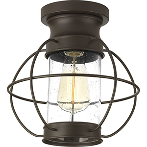 P550017-020: Haddon Antique Bronze One-Light Outdoor Semi Flush Mount with Clear Seeded Glass