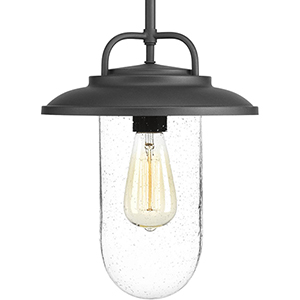 P550019-031: Beaufort Black One-Light Outdoor Hanging Lantern with Clear Seeded Glass