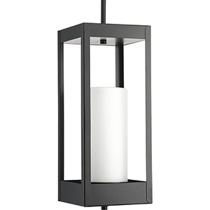 P550024-031: Patewood Black One-Light Outdoor Hanging Lantern with Etched Opal Glass