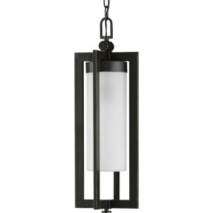 Janssen Oil Rubbed Bronze Eight-Inch One-Light Outdoor Pendant with Etched Shade