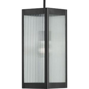 Felton Matte Black Seven-Inch One-Light Outdoor Pendant with Clear Ribbed Shade