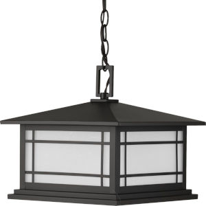 Oakcliff Antique Bronze 13-Inch One-Light Outdoor Pendant with Etched Seeded Shade