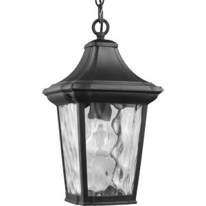 Marquette Textured Black Nine-Inch One-Light Outdoor Pendant with Clear Water Shade
