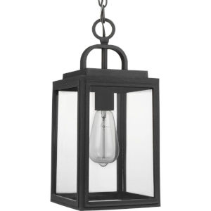 Grandbury Textured Black Seven-Inch One-Light Outdoor Pendant with Clear Shade