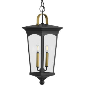 Chatsworth Textured Black Nine-Inch Two-Light Outdoor Pendant with Clear Shade