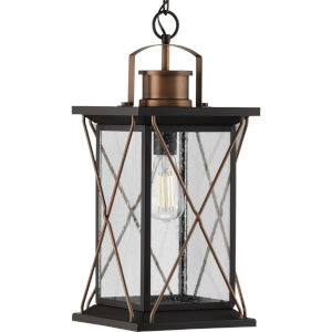 Barlowe Antique Bronze Nine-Inch One-Light Outdoor Pendant with Clear Seeded Shade