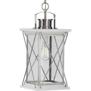 Barlowe Stainless Steel Nine-Inch One-Light Outdoor Pendant with Clear Seeded Shade