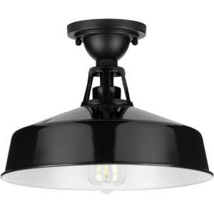 Cedar Springs Gloss Black 13-Inch One-Light Outdoor Semi-Flush Mount with Metal Shade