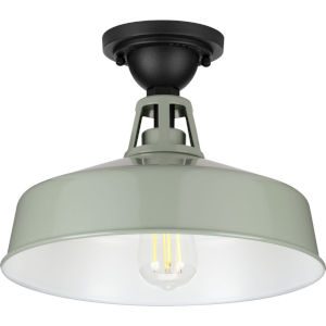 Cedar Springs Pistachio 13-Inch One-Light Outdoor Semi-Flush Mount with Metal Shade