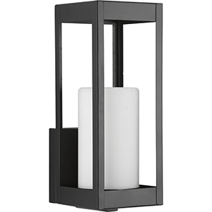 P560039-031: Patewood Black One-Light Outdoor Wall Mount with Etched Opal Glass
