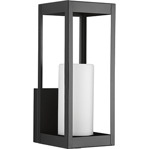 P560040-031: Patewood Black One-Light Outdoor Wall Mount with Etched Opal Glass