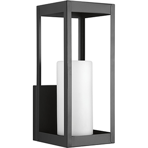 P560041-031: Patewood Black One-Light Outdoor Wall Mount with Etched Opal Glass