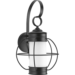 P560042-031: Haddon Black One-Light Outdoor Wall Mount with Etched Opal Glass