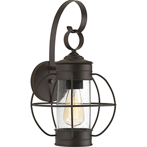 P560043-020: Haddon Antique Bronze One-Light Outdoor Wall Mount with Clear Seeded Glass