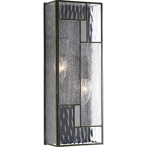 P560048-129: Geometric Architectural Bronze Two-Light Outdoor Wall Mount with Optic Hammered Glass