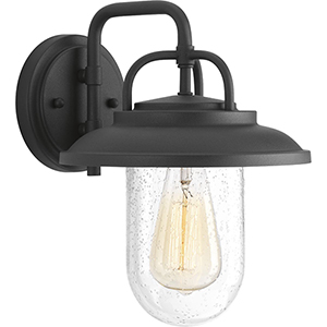 P560049-031: Beaufort Black One-Light Outdoor Wall Mount with Clear Seeded Glass