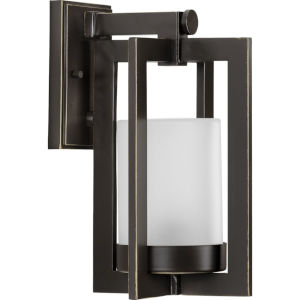 Janssen Oil Rubbed Bronze Small One-Light Outdoor Wall Sconce with Etched Glass Shade