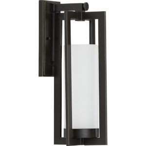 Janssen Oil Rubbed Bronze Large One-Light Outdoor Wall Sconce with Etched Glass Shade