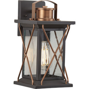Barlowe Antique Bronze Seven-Inch One-Light Outdoor Wall Sconce with Clear Seeded Shade