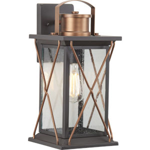 Barlowe Antique Bronze Eight-Inch One-Light Outdoor Wall Sconce with Clear Seeded Shade