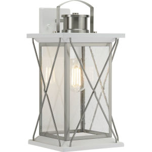 Barlowe Stainless Steel Nine-Inch One-Light Outdoor Wall Sconce with Clear Seeded Shade