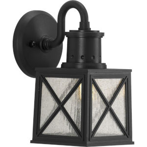 Seagrove Textured Black Six-Inch One-Light Outdoor Wall Sconce with Clear Seeded Shade