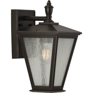 Cardiff Antique Bronze Seven-Inch One-Light Outdoor Wall Sconce with Clear Seeded Shade