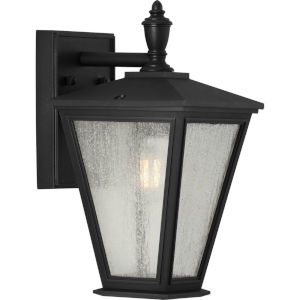 Cardiff Textured Black Seven-Inch One-Light Outdoor Wall Sconce with Clear and Etched White Shade