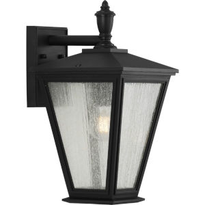 Cardiff Textured Black Nine-Inch One-Light Outdoor Wall Sconce with Clear Seeded Shade