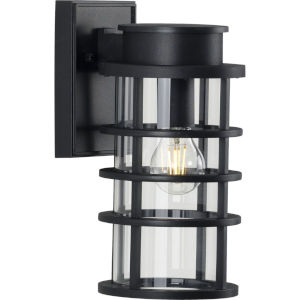 Port Royal Textured Black Six-Inch One-Light Outdoor Wall Sconce with Clear Shade