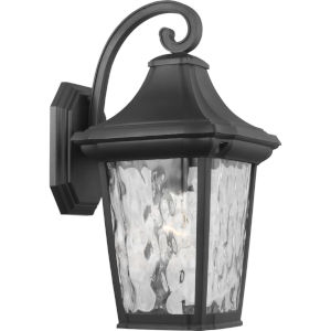 Marquette Textured Black Nine-Inch One-Light Outdoor Wall Sconce with Clear Water Shade