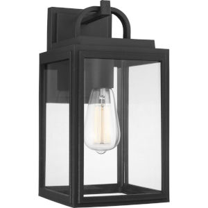 Grandbury Textured Black Seven-Inch One-Light Outdoor Wall Sconce with Clear Shade