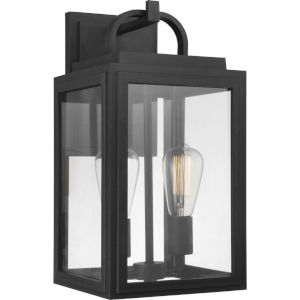 Grandbury Textured Black Nine-Inch Two-Light Outdoor Wall Sconce with Clear Shade