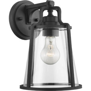 Benton Harbor Textured Black Eight-Inch One-Light Outdoor Wall Sconce with Clear Shade