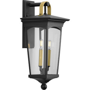Chatsworth Textured Black Nine-Inch Two-Light Outdoor Wall Sconce with Clear Shade