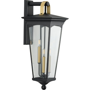 Chatsworth Textured Black 11-Inch Three-Light Outdoor Wall Sconce with Clear Shade