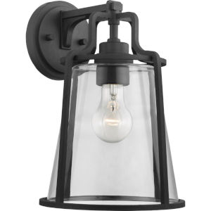 Benton Harbor Textured Black Nine-Inch One-Light Outdoor Wall Sconce with Clear Shade