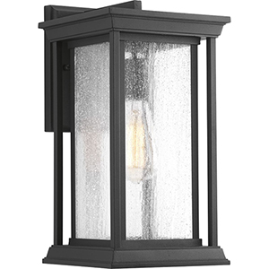 P5610-31: Endicott Black One-Light Outdoor Wall Mount with Clear Seeded Glass