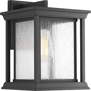 P5611-31: Endicott Black One-Light Outdoor Wall Mount with Clear Seeded Glass