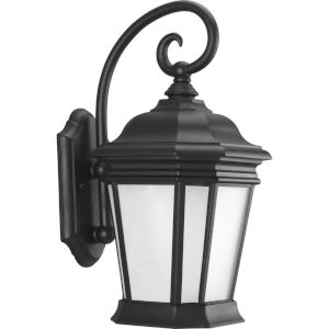 Crawford Textured Black Nine-Inch One-Light Outdoor Wall Sconce with Etched Glass Shade